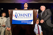 28 FEBRUARY 2012 - PHOENIX, AZ:   CRAIG ROMNEY, some of Republican presidential candidate Mitt Romney, speaks in support of his father at a Romney election watch party in Phoenix. Several hundred Romney supporters crowded into a ballroom in a Phoenix hotel to watch primary results from Michigan and Arizona. Romney won the night, scoring a tight win in the Michigan Republican Presidential primary and a comfortable win in the Arizona Republican Presidential primary.     PHOTO BY JACK KURTZ