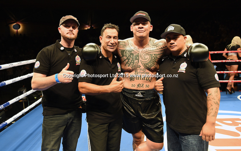 Brown Buttabean and entourage. Boxing. Burger King Road to the Title, Vodafone Arena, Auckland, New Zealand. Thursday 5 March 2015. Copyright Photo: Andrew Cornaga / www.photosport.co.nz.