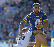 Ryan Atkins of Warrington Wolves on the attack against Toronto Wolfpack during the Ladbrokes Challenge Cup match at the Halliwell Jones Stadium, Warrington<br /> Picture by Stephen Gaunt/Focus Images Ltd +447904 833202<br /> 13/05/2018