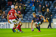 Duhan van der Merwe (#11) of Edinburgh Rugby scores Edinburgh's fifth try during the European Rugby Challenge Cup match between Edinburgh Rugby and SU Agen at BT Murrayfield, Edinburgh, Scotland on 18 January 2020.