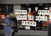 Nederland, Nijmegen, 17-6-2012Nu oranje verloren heeft tegen portugal en uit het EK ligt moet deze winkel in sportkleding haar belofte waarmaken.Foto: Flip Franssen/Hollandse Hoogte