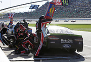 Kurt Busch (41) makes a pit stop during a NASCAR Cup Series auto race at Kansas Speedway in Kansas City, Kan., Sunday, Oct 21, 2018. (AP Photo/Colin E. Braley)