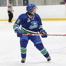 BURLINGTON, ON - SEP 9:  Wyatt Hicken #5 of the Burlington Cougars follow the play in the first period during the OJHL regular season game between the Orangeville Flyers and the Burlington Cougars. Orangeville Flyers and Burlington Cougars  on September 9, 2016 in Burlington, Ontario. (Photo by Tim Bates / OJHL Images)