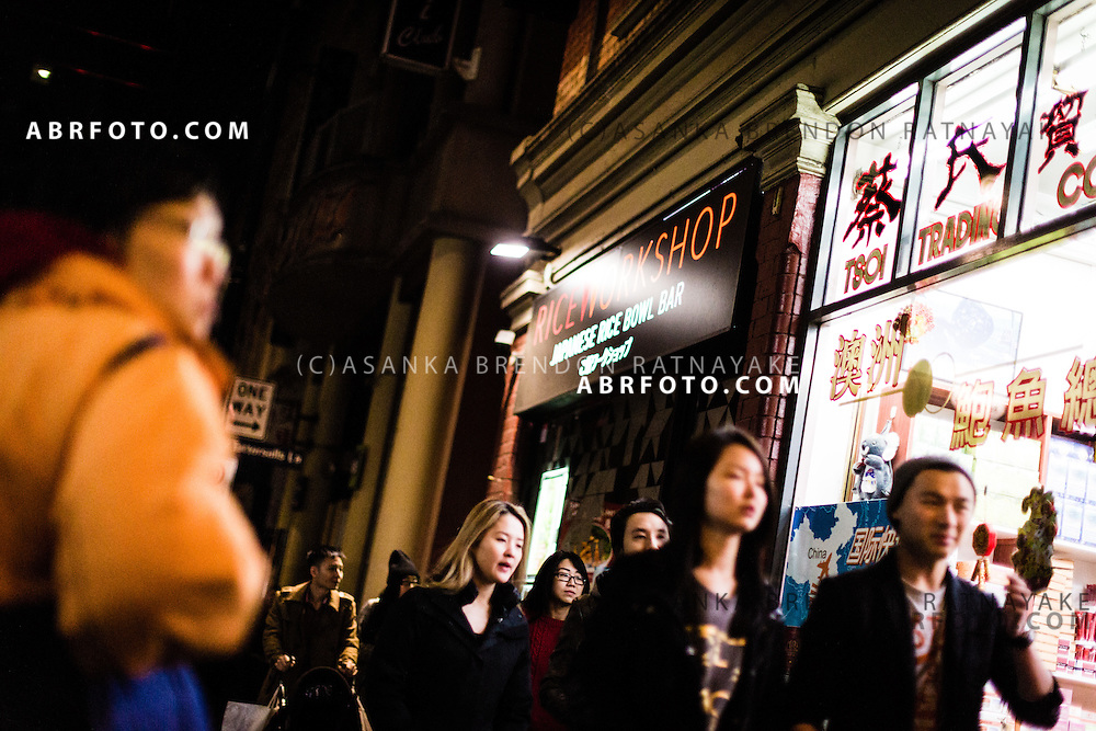 People in China town at night in Melbourne Victoria Australia