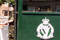 Soldiers guarding Howe Barracks, where the first Royal Irish Regiment are based in Canterbury. Photo by Andrew Parsons/i-Images.All Rights Reserved ©Andrew Parsons/i-images.See Instructions.