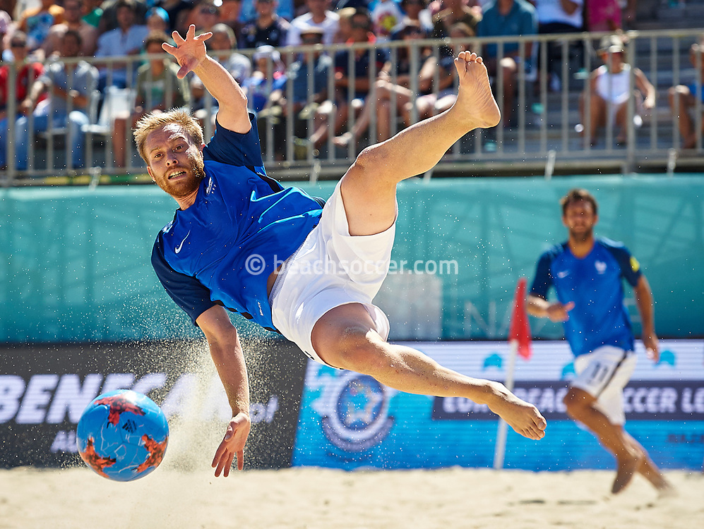 NAZARE, PORTUGAL - JULY 09:  Euro Beach Soccer League Nazare 2017 at Praia Norte on July 09, 2017 in Nazare, Portugal. (Photo by Manuel Queimadelos)