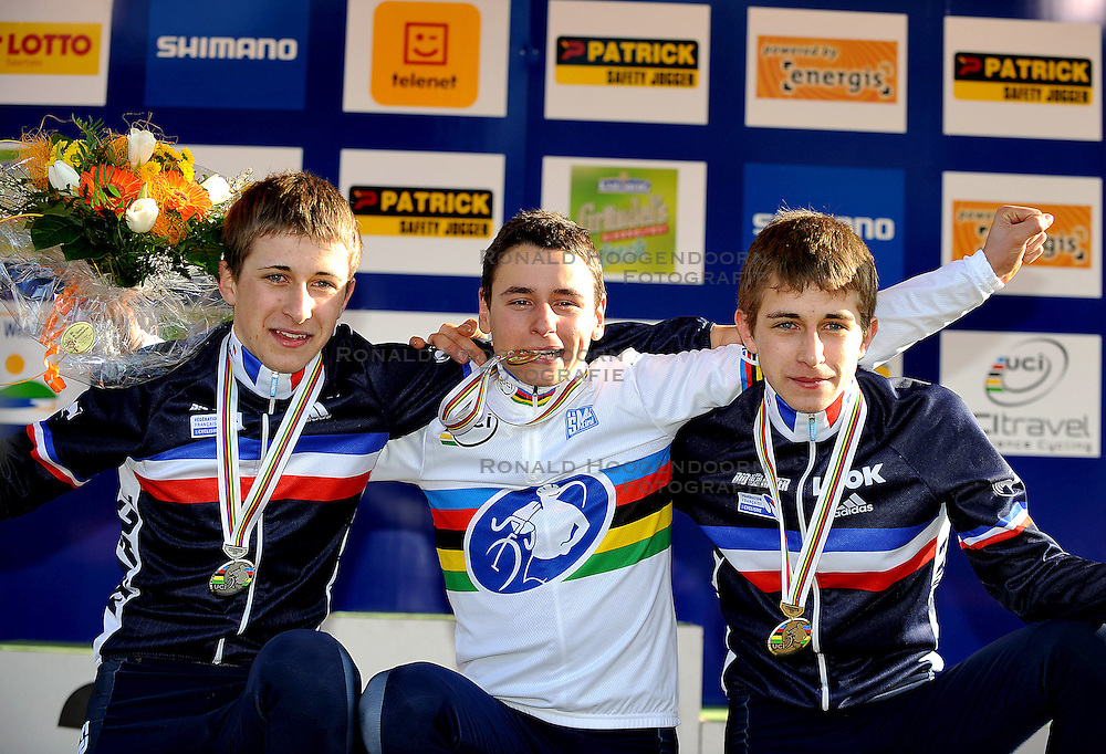 29-01-2011 VELDRIJDEN: WORLD CHAMPIONSHIP CYCLO CROSS: SANKT WENDEL<br /> ( LtoR) French DOUBEY Fabien ( 2nd ), French VENTURINI Clment winner and French DOUBEY Loic on the podium of the junior Cyclo Cross World Championships<br /> ***NETHERLANDS ONLY***<br /> ©2010- FRH-nph / Laurent Dubrule