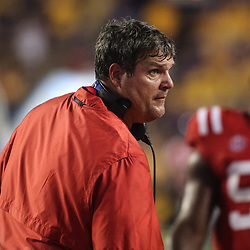Sep 29, 2018; Baton Rouge, LA, USA; Mississippi Rebels head coach Matt Luke during the second quarter of a game against the LSU Tigers at Tiger Stadium. Mandatory Credit: Derick E. Hingle-USA TODAY Sports