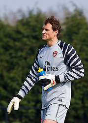 WIGAN, ENGLAND - Tuesday, March 29, 2011: Arsenal's goalkeeper Jens Lehmann during the FA Premiership Reserves League (Northern Division) match against Wigan Athletic at Robin Park. (Photo by Vegard Grott/Propaganda)