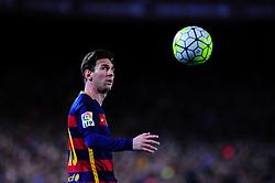 April 17, 2016 - Barcelona, Catalonia, Spain - Lionel Messi of F.C.Barcelona looks the ball during F.C.Barcelona vs Valencia CF BBVA Spanish League match,  April 17, 2016 in Barcelona, Spain. (Credit Image: © Joan Cros/NurPhoto via ZUMA Press)