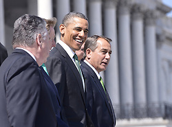 (L-R) U.S. House Representative Peter King (R-NY), Irish Prime Minister Edna Kenny, U.S. President Barack Obama and House Speaker John Boehner walk out of Capitol Hill after the annual St. Patrick s Day luncheon in Washington D.C., capital of the United States, March 19, 2013. Photo by Imago / i-Images...UK ONLY.