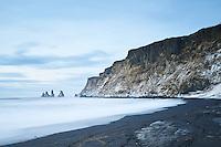 Víkurfjara black sand beach, South Coast of Iceland.