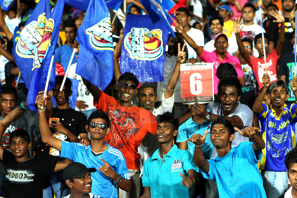 Fans enjoy the SLPL atmosphere during the Final Match of the Sri Lankan Premier League between Uva Next and Nagenahira Nagas held at the Premadasa Stadium in Colombo, Sri Lanka on the 31st August 2012. .Photo by Ron Gaunt/SPORTZPICS/SLPL