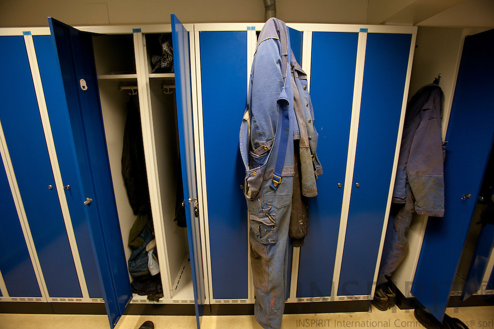 Workers has left their boiler suits hanging at the locker door at Soeby Ship Yard February 3, 2011.  Photo: Erik Luntang/INSPIRIT Photo
