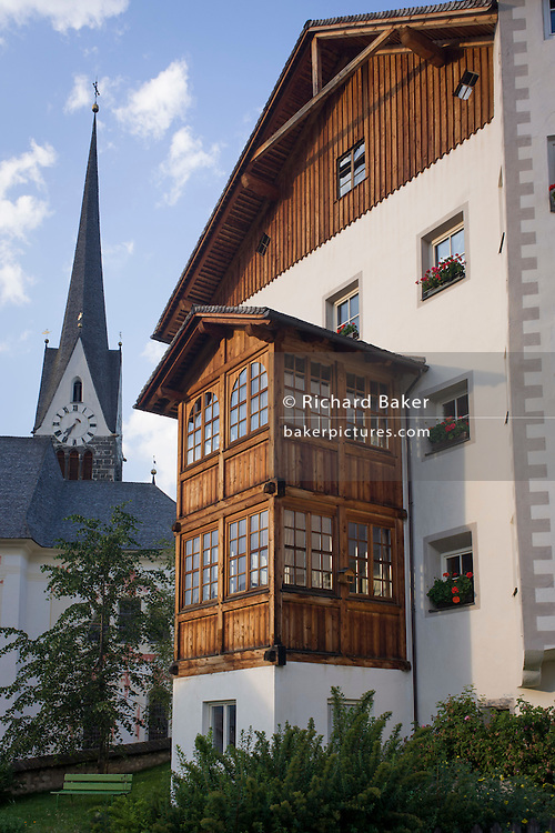 Typical Tyrolean architecture in Leonhard-St Leonardo, a Dolomites village in south Tyrol, Italy.