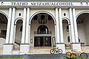 The facade of the Netzhualcoyotl Theatre along the Venustiano Carranza in Tlacotalpan, Veracruz, Mexico. The tiny town is painted a riot of colors and features well preserved colonial Caribbean architectural style dating from the mid-16th-century.