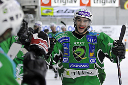 Bostjan Golicic of Tilia Olimpija celebrates at 6th Round of ice-hockey Slovenian National Championships match between HDD Tilia Olimpija and HK Acroni Jesenice, on April 2, 2010, Hala Tivoli, Ljubljana, Slovenia.  Acroni Jesenice won 3:2 after overtime and became Slovenian National Champion 2010. (Photo by Matic Klansek Velej / Sportida)