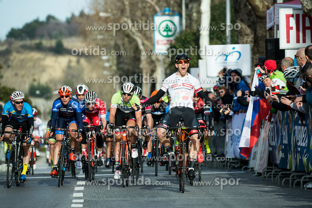 Winner FORTIN Filippo (ITA)  of Tirol Cycling Team celebrates at finish line during the UCI Class 1.2 professional race 4th Grand Prix Izola, on February 26, 2017 in Izola / Isola, Slovenia. Photo by Vid Ponikvar / Sportida