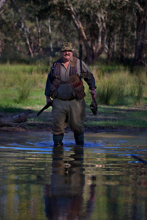 Robert Hodder. Duck hunting season opens near Howlong on the Murray River. Pic By Craig Sillitoe CSZ/The Sunday Age 10/3/2011 melbourne photographers, commercial photographers, industrial photographers, corporate photographer, architectural photographers, This photograph can be used for non commercial uses with attribution. Credit: Craig Sillitoe Photography / http://www.csillitoe.com<br />