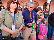 tucsonshooting - 09 JANUARY 2011 - TUCSON, AZ: Susan Ruff (CQ) LEFT and Mike Wilson (CQ) both from Tucson were among the people who gathered in downtown Tucson Sunday to pray for Congresswoman Gabrielle Giffords and other victims of the mass shooting that took place Saturday.   ARIZONA REPUBLIC PHOTO BY JACK KURTZ