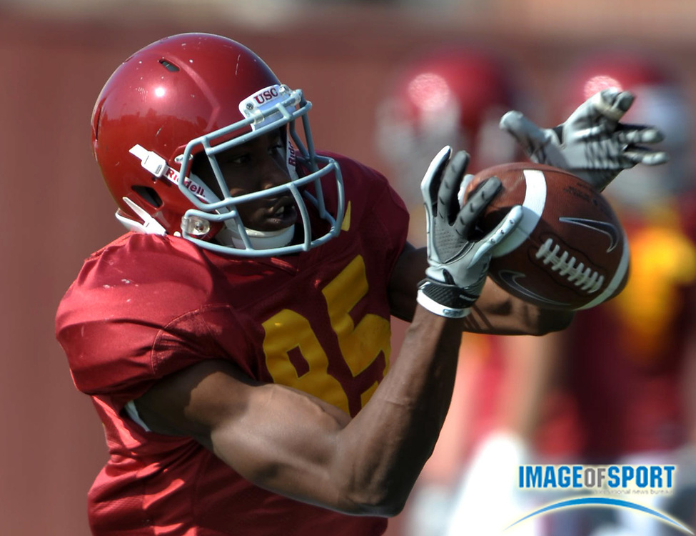 Apr 5, 2012; Los Angeles, CA, USA; Southern California Trojans receiver Victor Blackwell (85) catches a pass at spring practice at Howard Jones Field.