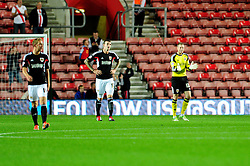 Bristol City's Elliott Parish motivates his team after going 1 - 0 down - Photo mandatory by-line: Dougie Allward/JMP - Tel: Mobile: 07966 386802 24/09/2013 - SPORT - FOOTBALL - St Mary's Stadium - Southampton - Southampton V Bristol City - Capital One Cup