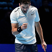 19.11.2017 Nitto ATP World Tour Finals at O2 Arena London UK FINAL Gregor Dimitrov BUL  v David Goffin BEL Dimitrov in action during the match which he won in 3 sets