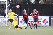 Deanna Cooper clears the danger during the Women's FA Cup match between Watford Ladies FC and Brighton Ladies at the Broadwater Stadium, Berkhampstead, United Kingdom on 1 February 2015. Photo by Stuart Butcher.
