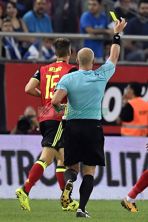 September 3, 2017 - Athens, GREECE - Referee Szymon Marciniak gives a yellow card to Belgium's Thomas Meunier at a World Cup qualification game between Greece and Belgian national soccer team Red Devils in Piraeus, Athens, Greece, Sunday 03 September 2017. BELGA PHOTO DIRK WAEM (Credit Image: © Dirk Waem/Belga via ZUMA Press)
