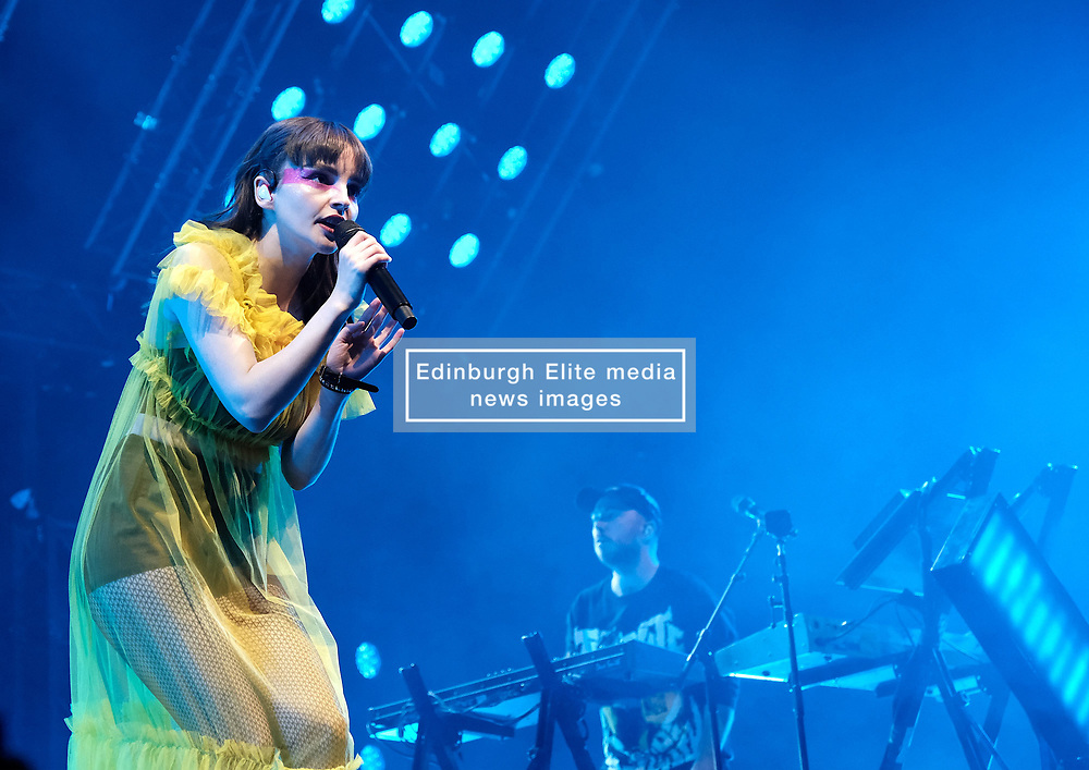 """Chvrches, Love Is Dead Tour, Glasgow Hydro, Saturday 16th February 2019<br /> <br /> Scottish band Chvrches performed at the SSE Hydro in Glasgow as part of their """"Love Is Dead"""" tour celebrating their third album of the same name.<br /> <br /> The band consists of Lauren Mayberry (singer), Iain Cook (synthesizers and guitars) and Martin Doherty (synthesizers)<br /> <br /> Pictured: Lauren Mayberry and Iain Cook<br /> <br /> Aimee Todd 