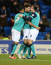 Blackburn Rovers's Rudy Gestede celebrates his goal with Blackburn Rovers's Joshua King and Blackburn Rovers's Chris Brown to make it 1-1 against his former club. - Photo mandatory by-line: Alex James/JMP - Mobile: 07966 386802 - 17/02/2015 - SPORT - Football - Cardiff - Cardiff City Stadium - Cardiff City v Blackburn Rovers - Sky Bet Championship