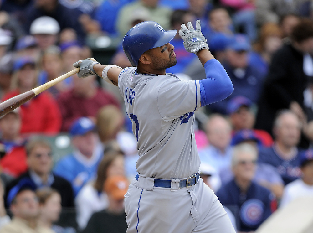 CHICAGO - MAY 29:  Matt Kemp #27 of the Los Angeles Dodgers watches the flight of his home run against the Chicago Cubs on May 29, 2009 at Wrigley Field in Chicago, Illinois.  The Cubs defeated the Dodgers 2-1.  (Photo by Ron Vesely)