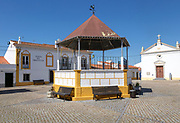 Bandstand and local government office in village square of Pavia, Alentejo, Portugal, Southern Europe