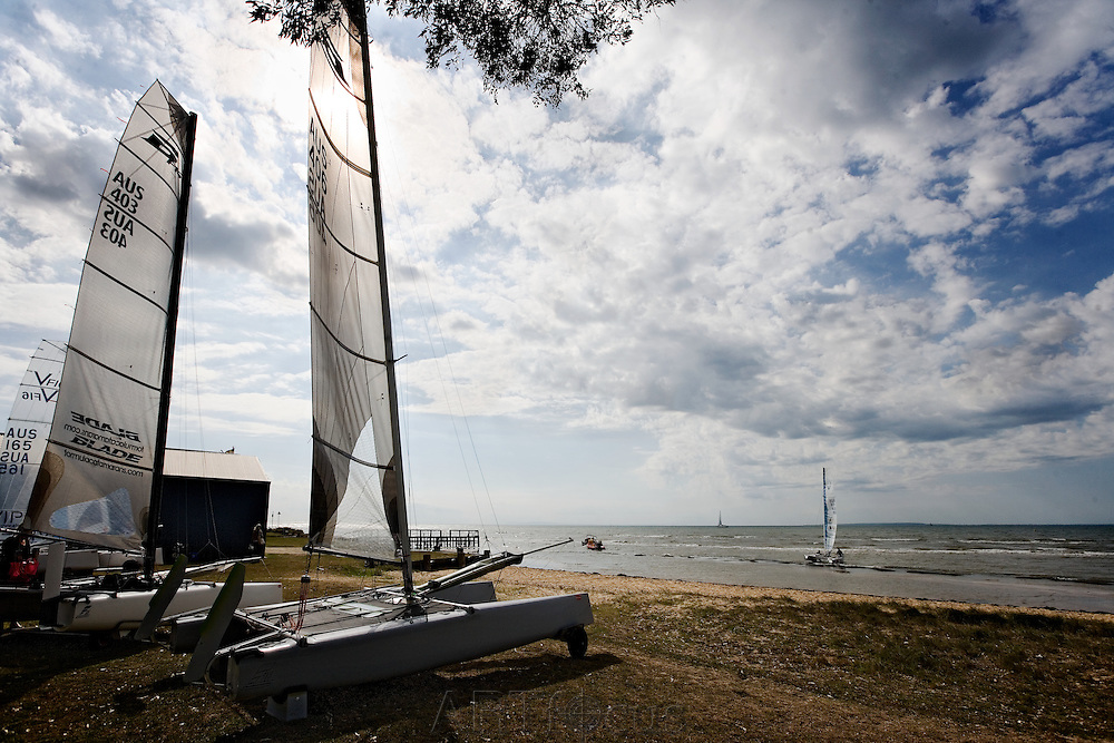 catamarans on foreshore at St Leonards Yacht Club on the Bellarine Peninsula