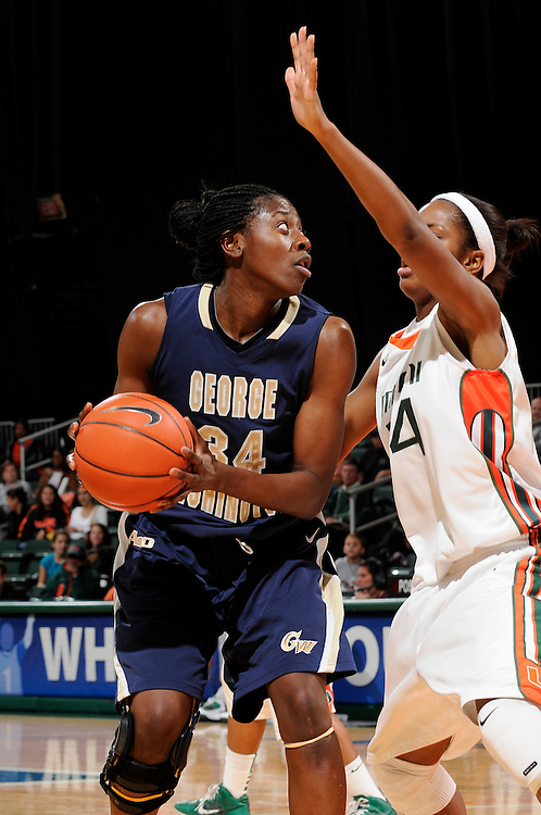 December 28, 2010: Ivy Ablona of the George Washington Colonials in action during the NCAA basketball game between GWU and the Miami Hurricanes. The 'Canes defeated the Colonials 83-62.