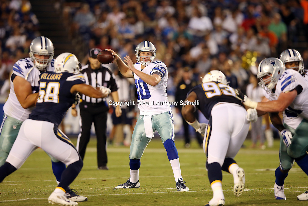 Dallas Cowboys quarterback Dustin Vaughan (10) throws a pass during the 2015 NFL preseason football game against the San Diego Chargers on Thursday, Aug. 13, 2015 in San Diego. The Chargers won the game 17-7. (©Paul Anthony Spinelli)