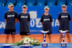 During flower ceremony after final of doubles at 25th Vegeta Croatia Open Umag, on July 27, 2014, in Stella Maris, Umag, Croatia. Photo by Urban Urbanc / Sportida