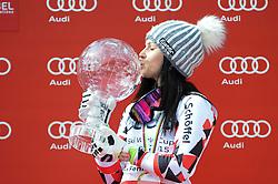 22.03.2015, Roc de Fer, Meribel, FRA, FIS Weltcup Ski Alpin, Meribel, Gesamtweltcup, Damen, Siegerehrung, im Bild Anna Fenninger (AUT, 1. Platz) mit der grossen Kristallkugel für den Gesamtweltcup der Damen // first placed Anna Fenninger of Austria with Crystal globe for Ladie's Overall World Cup during the overall winner Ceremony for the lady's FIS World Cup at the Roc de Fer in Meribel, France on 2015/03/22. EXPA Pictures © 2015, PhotoCredit: EXPA/ Erich Spiess