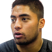 2/18/13 12:59:24 PM -- Bradenton, FL, U.S.A. -- NFL prospect and Notre Dame linebacker Manti Te'o talks with USA today as he works out at IMG Academy in Bradenton, Fla., in preparation for this year's NFL Combine.  -- ...Photo by Chip J Litherland, Freelance