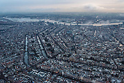 Nederland, Noord-Holland, Amsterdam, 16-01-2014;<br /> Overzicht Amsterdam grachtengordel, centrum, Noord en het IJ (boven in beeld). Midden foto Koninklijk Paleis.<br /> Overview Amsterdam: ring of canals, center, North and IJ (water, top picture).<br /> luchtfoto (toeslag op standard tarieven);<br /> aerial photo (additional fee required);<br /> copyright foto/photo Siebe Swart