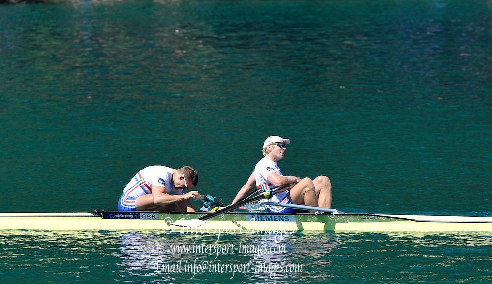 Bled, SLOVENIA. Men's Pairs Final , Gold medalist NZL, Bow Eric MURREY and Hamish BOND, Silver Medalist, Bow Peter REED and Andy TRIGGS HODGE ITA M2-  2011 FISA World Rowing Championships, Lake Bled. Saturday  03/09/2011  [Mandatory Credit; Peter Spurrier/ Intersport Images]
