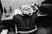 Buster Bloodvessel from Ska, 2 Tone band, Bad Manners, having his head shaved backstage, UK 1980