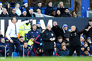 Everton Caretaker Manager Duncan Ferguson and Arsenal Caretaker Manager Fredrik Ljungberg both think the decision should have gone their way during the Premier League match between Everton and Arsenal at Goodison Park, Liverpool, England on 21 December 2019.