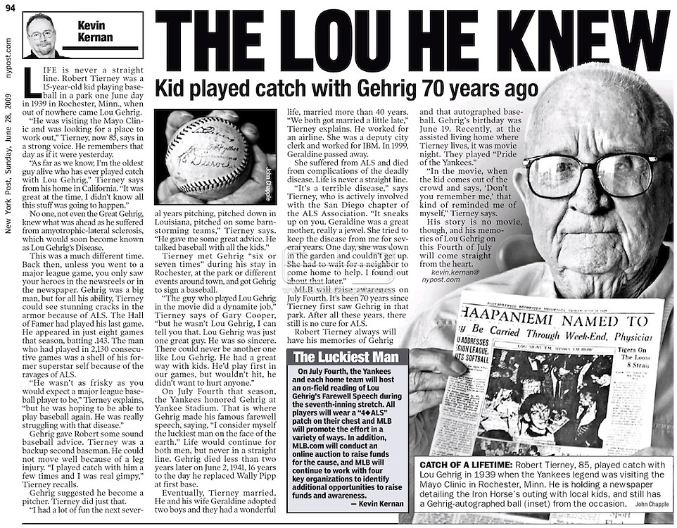 New York Post, June 28th 2009 page 94..22nd June 2009. Oceanside, California. Robert Tierney who, as a kid in 1939, played baseball with Lou Gehrig. Mr Tierney, has a signed baseball from the New York Yankees star, which he now keeps in a safety deposit box at the bank. PHOTO © JOHN CHAPPLE / www.chapple.biz