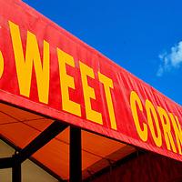 Sweet Corn Banner Over Fresh Vegetable Stand in Buffalo, Minnesota
