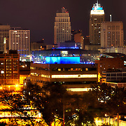 View of part of the downtown Kansas City MO skyline lit Royal Blue for Kansas City Royals 2014 World Series run.