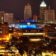 View of part of the downtown Kansas City MO skyline lit Royal Blue for Kansas City Royals 2014 World Series run.