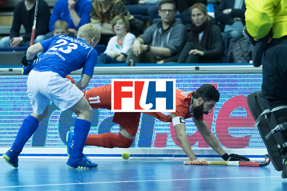 Hockey, Seizoen 2017-2018, 09-02-2018, Berlijn,  Max-Schmelling Halle, WK Zaalhockey 2018 MEN, Iran - Czech Republic 2-2 Iran Wins after shoutouts, Behdad Beiranvand flying.