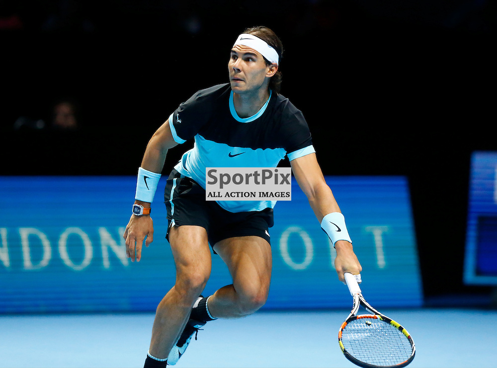 Rafael Nadal. ATP Finals 2015 at O2 Arena, London. Stanislas Wawrinka plays Rafael Nadal in their first match in the Group Ilie Nastase. 16th November 2015. (c) Matt Bristow | SportPix.org.uk