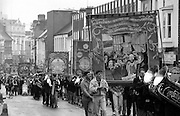 Goldthorpe, Askern Main, Rossington, Hatfield Main and Armthorpe Branch banners. 1991 Yorkshire Miners Gala. Doncaster.